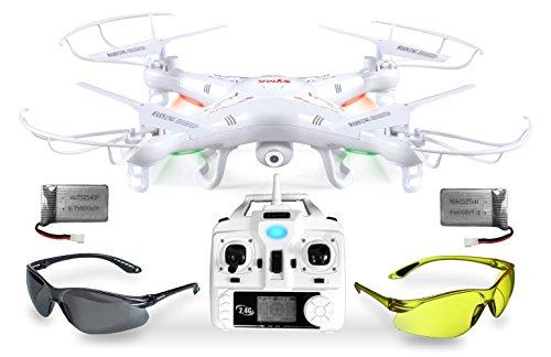 Syma X5C Explorer UPGRADE Weiße SafeFly Sonder-Edition 3D Quadrocopter Drohne mit 3.6 MP HD Kamera mit Ton, Zusatz-Power-Akku, ABHEBEN/LANDEN automatisch, 6AXIS Stabilization System, 4GB Micro-SD