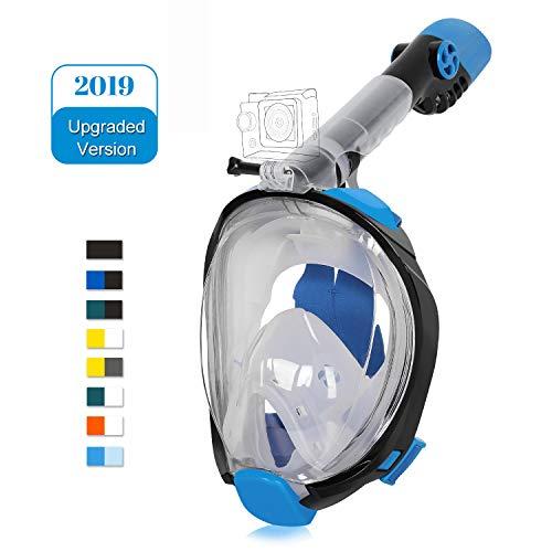 Unigear Maschera da Snorkeling, Maschera Subacquea con Apertura a 180 ° Ampia visibilità Anti-Perdita Anti-Appannamento per Donna e Uomo (L/XL, Nero-Blu)