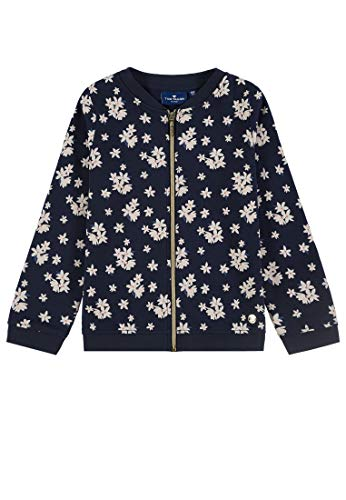 TOM TAILOR für Mädchen Strick & Sweatshirts Sweatjacke mit Blumenmuster Navy Blazer Blue, 128/134