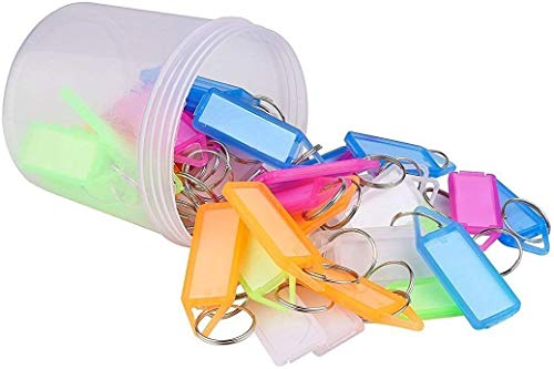 Créneau Multicolor Plastic Keychain & Keyring with Name Tag Labels (Pack of 50)