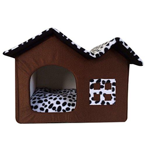 LvRao Cuccia a Casa Letto Pieghevole Staccabile Cuccia con Cuscino Casa Cuscini Divano per Cani Gatti Lettino per Animali (caffè, S)
