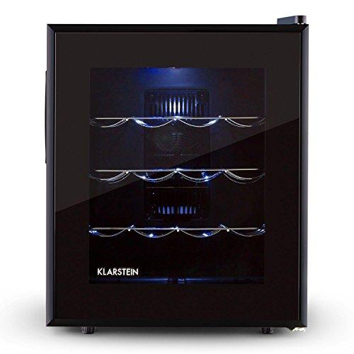Klarstein Barolo - frigorifero per vini e bevande, 48 L, 16 bottiglie, doppiamente isolato, 3 ripiani in metallo, illuminazione interna a LED, autonomo, funzionamento silenzioso, nero