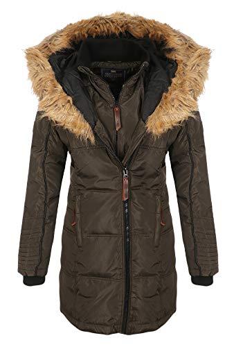Geographical Norway Belissima - Parka invernale da donna, con cappuccio in pelliccia,  cachi 4/XL