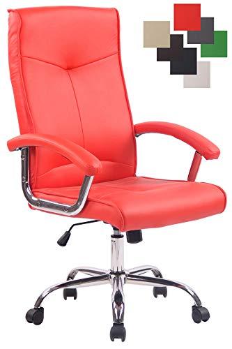 CLP Poltrona Ufficio Ergonomica Winston in Similpelle - Sedia da Scrivania con Braccioli E Rotelle Girevole E Regolabile Rosso