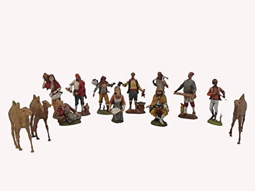 Moranduzzo Pastori Presepe - Kit da 10 Personaggi Pastori 12cm Mestieri Contadini e 3 Cammelli Landi