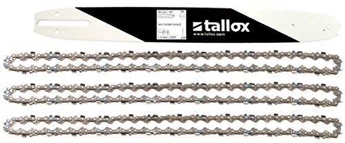 """tallox 1 Espada y 3 Cadenas de Sierra 3/8"""" 1,3 mm 56 eslabones 40 cm Compatible con Oregon Dollmar Einhell Makita Black & Decker y Otras"""