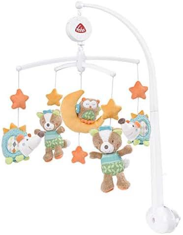 Fehn Musik-Mobile – Spieluhr-Mobile mit niedlichen Figuren zum Beobachten, Lauschen & Staunen – Zum Befestigen am Bett für Babys von 0-5 Monaten – Höhe: 65 cm, ø 40 cm