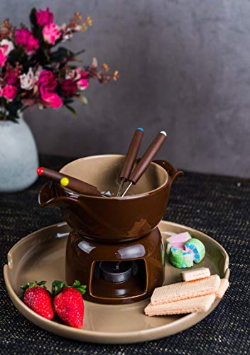 GOODHOMES Ceramic Chocolate Fondue Set with Tray, 2 Candles and 4 Forks (Brown) -Set of 9 Pieces
