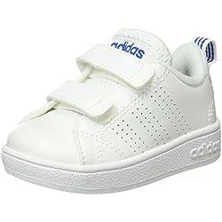 adidas Unisex-Kinder Vs Advantage Clean Sneakers, Weiß (Ftwwht/Ftwwht/Blue), 27 EU