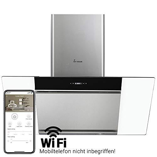 Cappa aspirante da cucina (90cm, acciaio inox, vetro, WIFI, extra silenziosa, 605m³/h, 4 passi,...