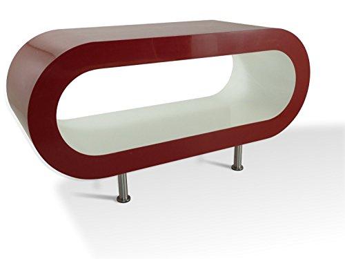Zespoke Design Medio Retro Rosso e Bianco 90cm Cerchio Tavolino/TV Stare Con i Piedi