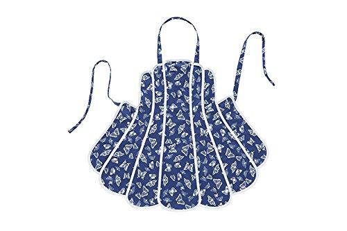 El británico textiles Co Freya–Panel delantal 75x 63cm blanco azul Mariposa Diseño 100% algodón
