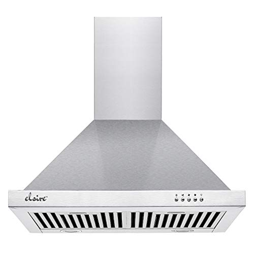 Elsire 60 cm 1050 m3/hr Chimney with Free Installation Kit (Venus 60 with 2 Baffle Filters, Push Button Control, Silver)
