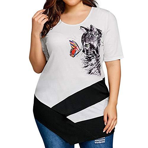 ❤☀ URIBAKY -Camisas Mujer Verano Elegantes Camiseta de Manga Corta con Estampado de Mariposa de Gato Asimetrico Casual Tallas Grandes Camisetas para Mujer Fiesta en la Playa