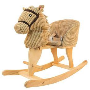 Caballo de oscilación del bebé, Caballo de madera para niños Caballo mecedora Caballo de madera maciza Juguete para…
