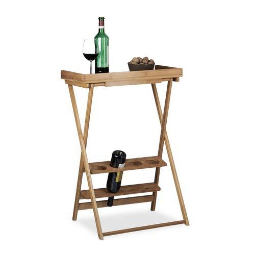 Relaxdays, 1002, Tavolino con Vassoio Removibile, Marrone Chiaro, 80 x 58 x 28 cm