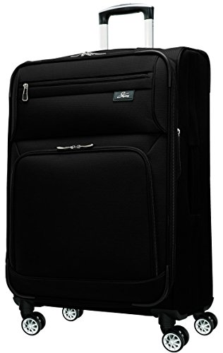 SKYWAY USA - Sigma 5 - Ultra Lightweight | Ergonomic Polyester | Carry On 4 Wheel Spinner | Upright Bag (Soft Sided Suitcase with TSA Lock) (Black, 21 inch)
