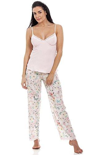 Conjunto de Pijama de Gasa Estampado Floral con Mariposas y Abejas
