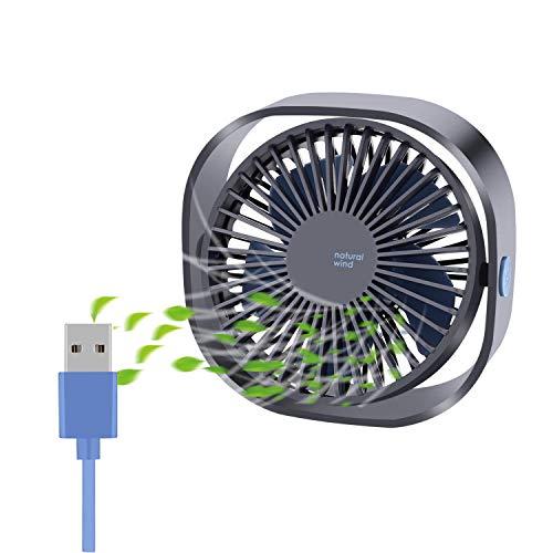 COMLIFE Ventilatore USB da Tavolo Potente e Silenzioso Mini Fan Personale 3 velocità Rotazione a...