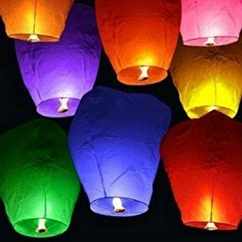 shopping hub Sky Lanterns (Multicolour) - Pack of 5