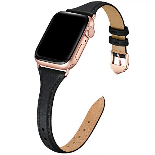 WFEAGL Compatibile con Cinturino Apple Watch 38mm 40mm 42mm 44mm, Multicolore Ultrasottile Pelle Cambiamento Cinturini Compatibile con iWatch Serie 5/4/3/2/1(38mm 40mm,Nero+Adattatore Oro Rosa)