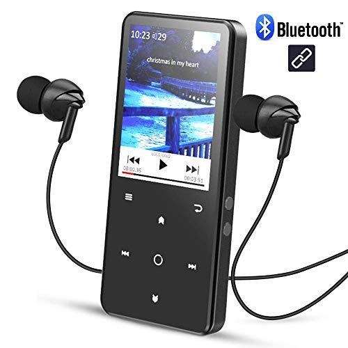 AGPTEK 2,4 Pollici Lettore Mp3 Bluetooth 16 GB, C2SB Mp3 Player di Metallo Schermo a Colori con...