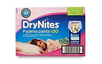 Huggies, mutandine DryNites Pyjama Pants, per bambine di 4-7anni, 30 pezzi