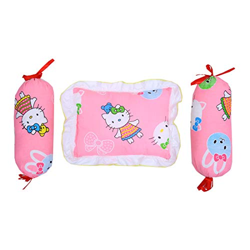 FARETO Combo of Baby Soft Square Pillow and 2 Matching Anti Roll Bolster (Lot) Pillows (0-3 Months) (Pink)