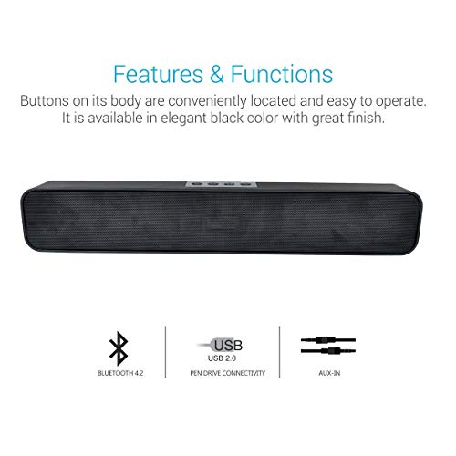 Fieusche® Pure Sound Pro Bluetooth 4.2 an All-in-One Versatile Wireless SOUNDBAR with FM Tuner, 3.5mm AUX, Powerful 10W Sound and USB Port.