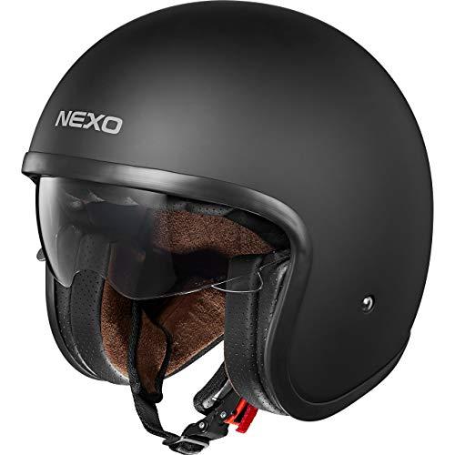 Nexo Motorradhelm, Halbschalenhelm, Jethelm Urban Style, Sonnenblende, Ratschenverschluss, herausnehm-, waschbare Wangenpolster, Gewicht: 1.050 g (+/- 50 g), Prüfung: ECE 22/05, matt schwarz, L