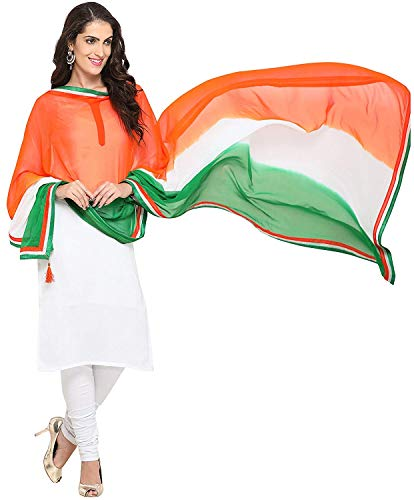Ginoya Brothers Women's Chiffon - Indian Flag [ Tiranga ] Design Free Size Dupattas (1)
