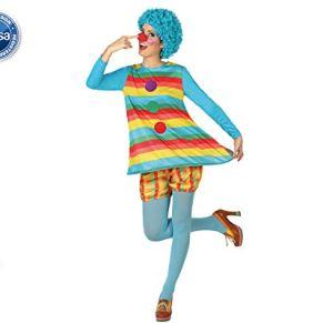 Atosa - Disfraz vestido de mujer payasa a rayas multicolores, M-L (26304)