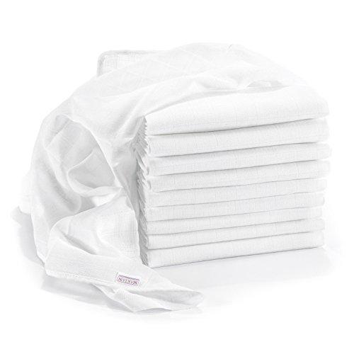 Mussola in Cotone Neonato - 10 pezzi - 80 x 80 cm - Qualità superiore - bianco, tessuto doppio, bordi rinforzati, Öko-Tex Standard 100, lavabili a 90° C