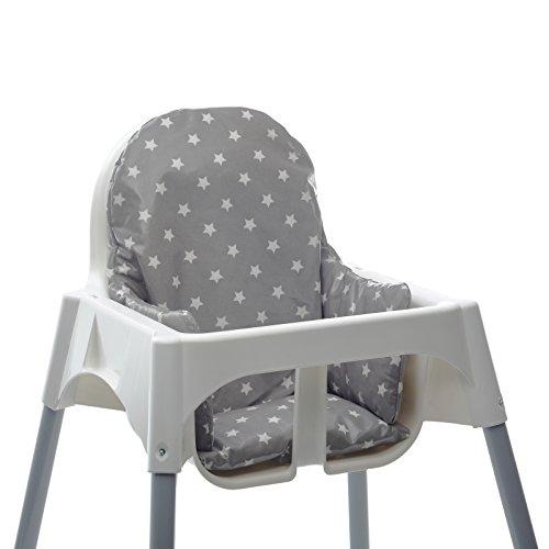 Messy Me-CuscinoAdatto aSeggioloneIKEA Antilop per Bambini - Facile da pulire (Grigio con stelle)
