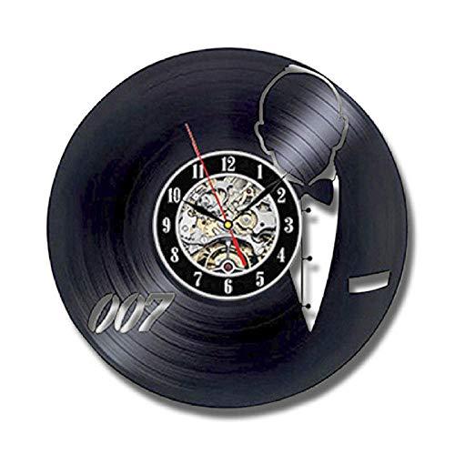 GZWSM Orologio da Parete in Vinile Design Moderno Soggiorno Decorazione James Bond 007 Orologi Stile Vintage Orologio da Parete Decorazioni per la casa Silenzioso 12 Pollici 30 cm