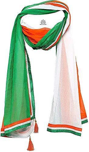 Gracious Mart Women's Chiffon Tiranga Tricolor Dupatta (AAGWDT, Orange, White, Green, Free Size)