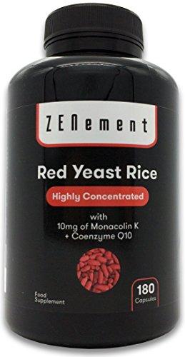 Riso Rosso Fermentato (Lievito di Riso rosso) con 10 mg di Monacolina K e Coenzima Q10, 180 Capsule | Controlla i livelli di Colesterolo nel sangue | 100% Vegan, senza Additivi, senza Citrinina