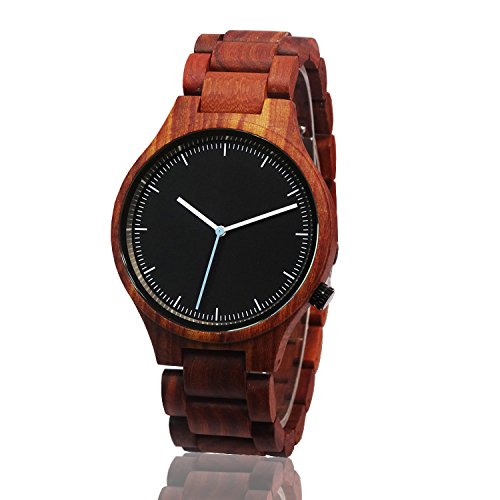 Bern Suisse Wooden Watch in Wood Box for Men (Red Sandal)