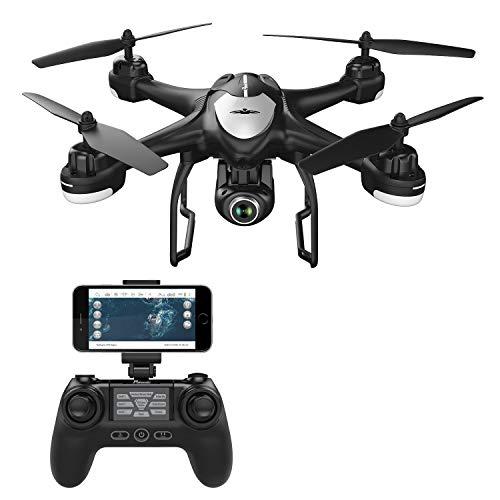 Potensic T18 Drone GPS con Telecamera 1080P, Dual GPS con Grandangolare-Regolabile Camera HD WiFi FPV, Nero