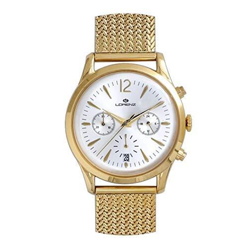 Cronografo Lorenz Orologio Chrono Uomo Acciaio Maglia Milano Mesh PVD Gold 25307AA