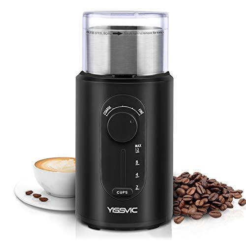 Yissvic Kaffeemühle Elektrische aus Edelstahl mit Schlagmesser 2-12 Tassen Ideal für Espresso...