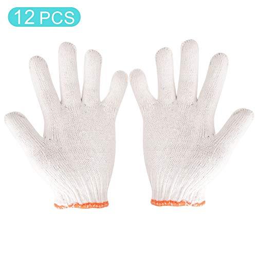Guanti protettivi da lavoro in cotone bianco da 12 paia, guanti di protezione da lavoro in cotone...