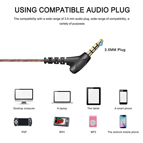 AOKII Wired In-Ear Earbud Headphones with Mic & Remote Control,Comfortable Earphones Compatible for iPhone,Android … (Black)