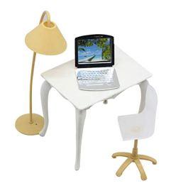 Originaltree – Scrivania giocattolo per le bambole con lampada, sedia e computer portatile, ac