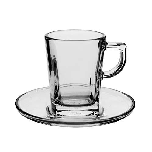 Pasabahce Carre Set 6 Tazzine caffè con Piatto Carrè Preparazione Colazione Arredo Tavola, 7.2 cl