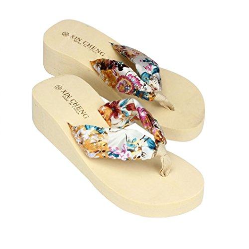 Kword Scarpe Flip-Flops, Sandali da Donna con Tacco Alto Stile Giapponese Nastro Floreale Infradito...