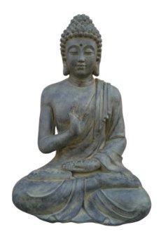 Figura de Buda sentado con gesto de la mano – para casa y jardín – Altura 40 cm – negro