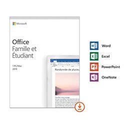 Microsoft Office Famille et Etudiant 2019 - 1 PC ou Mac - achat définitif