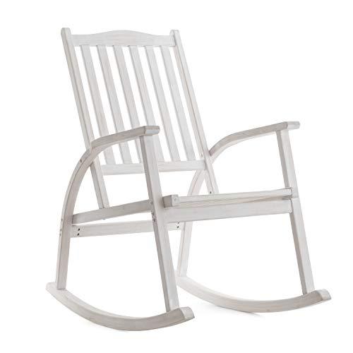 Ampel 24 Vintage Schaukelstuhl Texas, Gartenstuhl mit Armlehnen und hoher Rückenlehne aus Holz sibirische Lärche, Stuhl in Shabby Chic weiß