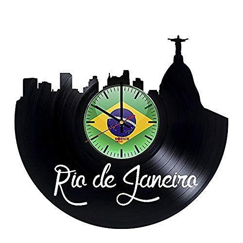 AIYOUBU Rio De Janeiro Brasile Orologio da Parete Fatto a Mano in Vinile - Ottieni Decorazioni per pareti uniche per Ufficio - Idee Regalo per Uomini e Donne ?? Città Skylines Arte Moderna Unica